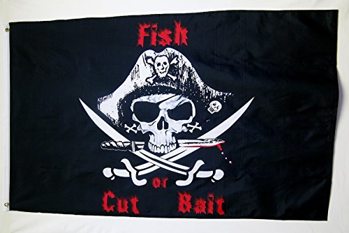 Fish Or Cut Bait Pirate Theme Flag 3' X 5' Indoor Outdoor Ba