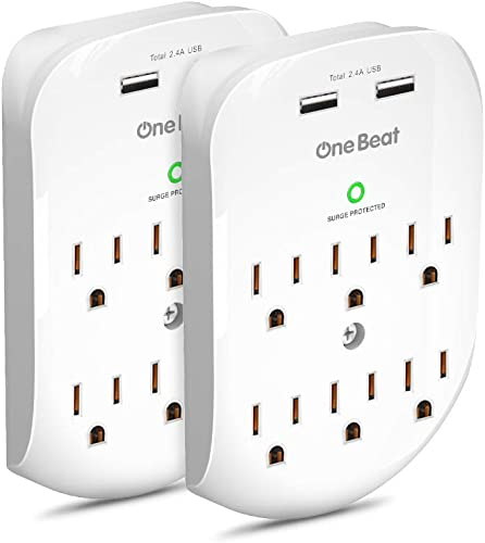 2 Pack 6-Outlet Wall Surge Protector, Multi Plug Outlet Extender, Outlet Wall Mount Adapter with 2 USB Charging Ports 2.4 A, 490 Joules, ETL UL Certifie for Home, School, Office