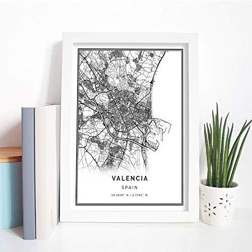 WCLGDJ Mapa de Valencia, póster Impreso, Cuadro artístico de Pared, Regalo de España, Mapa de Viaje de la Ciudad, Pintura artística, cua 50x70cm Sin Marco: Amazon.es: Hogar