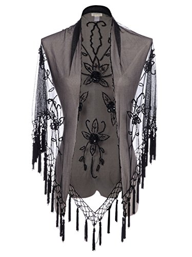 [Anna-Kaci S/M Fit Black Victorian Inspired Tassel Fringe Floral Rose Bead Shawl] (Victorian Womens Costumes)