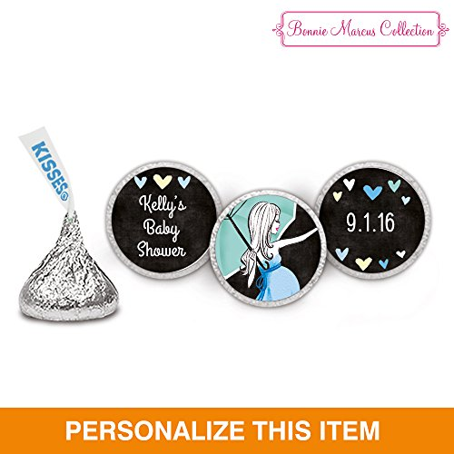 Baby Shower Candy - HERSHEY KISSES Custom Wrappers -Blue Hearts - (108 Wrappers)