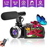 Camcorders Video Camera, Vlogging Camera for YouTube 2.7K Full HD 30MP 18X Digital Zoom Camcorder with Microphone 3.0 Inch IPS Touch Screen