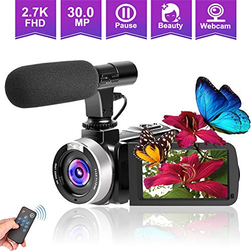 Camcorders Video Camera, Vlogging Camera for YouTube 2.7K Full HD 30MP 18X Digital Zoom Camcorder with Microphone 3.0 Inch IPS Touch Screen (NEW05)