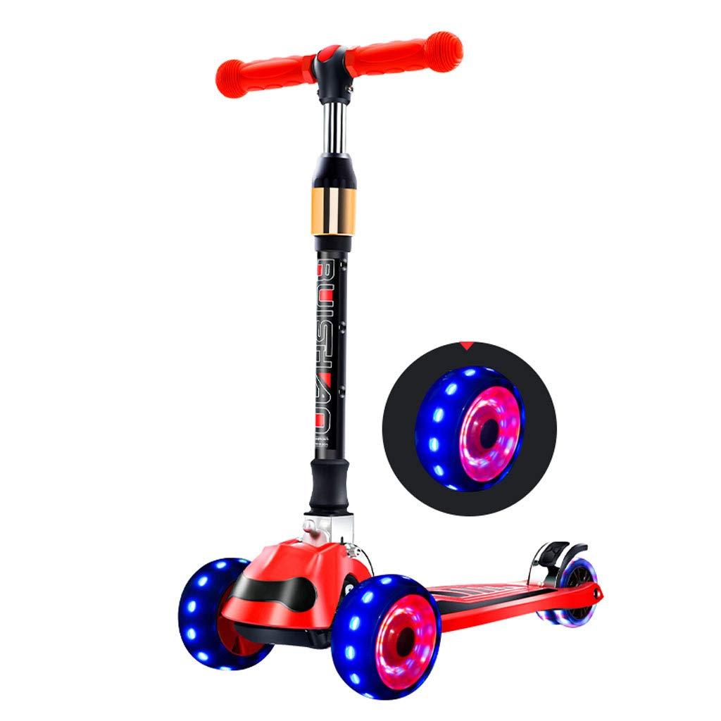 3輪スクーターキッズ幼児点滅ホイール2歳以上の男の子の女の子のためのエクストラワイドデッキ付きw /デッキミニキックスクーター調節可能な高さスケートボード 赤