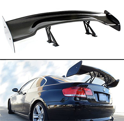 (Cuztom Tuning Universal 57 Inch Carbon Fiber Adjustable Stand Up Type Big GT-Style Rear Trunk Deck Spoiler Wing)
