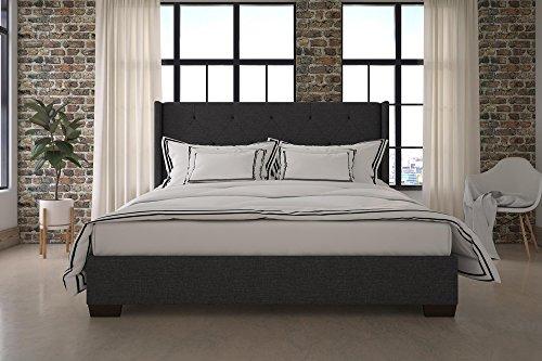 DHP Eden Wingback Upholstered Platform Bed with Vintage Modern Style and Wooden Slat Support, King Size - Grey Linen