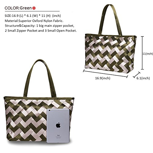 amp; Stylish Hangbag Large Black Womens Waterproof Shoulder VAVABOX Handbags Green Nylon Hobo Khaki Tote Bags Bag Bag Capacity Ea1Pqx