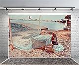 Leyiyi 8x6ft Photography Backgroud Vintage Wooden Pier Backdrop Hawaiian Luau Hula Party Fishing Net Fishering Life Rope Lantern Starfish Beach Sand Seashell Photo Portrait Vinyl Studio Video Prop
