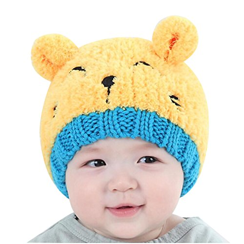 Price comparison product image Bestjybt Newborn Baby Girls Boys Kids Toddler Bear Knit Cap Warm Beanie Hat, Yellow