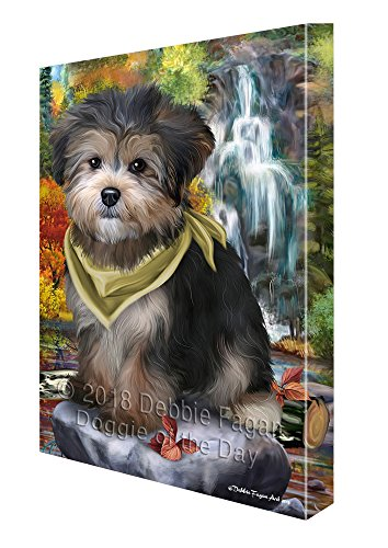 Doggie of the Day Scenic Waterfall Yorkipoo Dog Canvas Wall Art