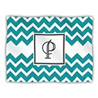 "Kess InHouse KESS Original ""Monogram Chevron Teal Letter P"" Pet Dog Blanket, 60 by 50-Inch"