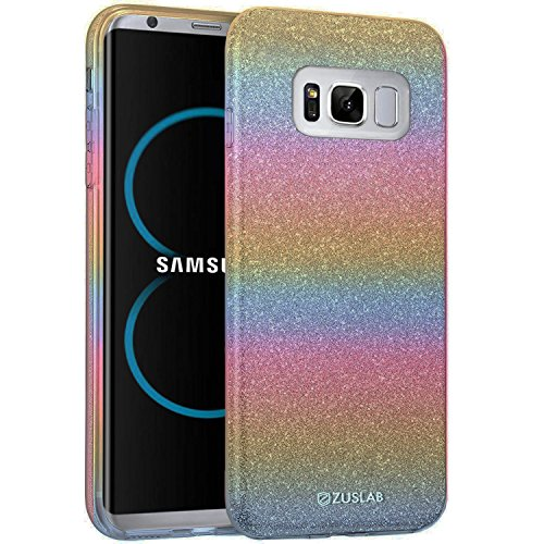 Samsung Galaxy S8 Plus Case, ZUSLAB Rosy Series, Bling Luxury Shinning Bumper,Dual Layer Protective Glitter Cover for Samsung Galaxy S8 Plus (Rainbow)