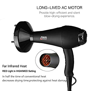 Jinri Salon Grade Professional Hair Dryer 1875W AC Motor Negative Ionic Ceramic Far Infrared Blow Dryer With 2 Speed and 3 Heat Settings Cold Shot Button, Diffuser and Straightening Comb Pik(Black)