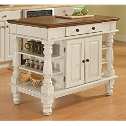 Home Styles 5094-94 Americana Kitchen Island, Antique White Finish
