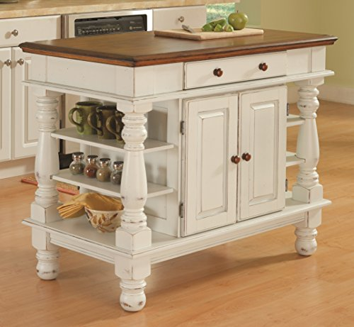 Home Styles 5094-94 Americana Kitchen Island, Antique White Finish - Antique Kitchen Islands