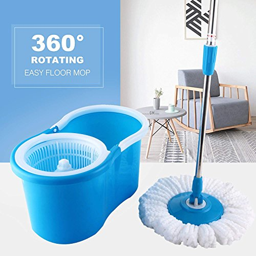(HAPINNEX Easy Spin 360° Press Mop Bucket Set - Push & Pull Rotation - Liquid Drain Hole - Easy Wring with Reusable Mop Heads - Non Pedal)