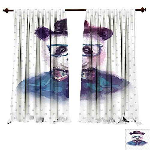 fengruiyanjing-Home Thermal Insulated Grommet Hipster Panda with Bow Tie Dickie Hat Horn Rimmed Glasses Watercolor Style Print Black Blue Blackout Curtains for Bedroom (W84 x L84 -Inch 2 Panels)