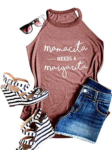 Need Neck - Ofenbuy Womens Mamacita Needs A Margarita Tank Top Halter High Neck Sexy Letter Print Graphic Camisole (Medium, Wine red)