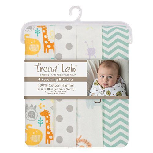 Trend Lab Mint Jungle Flannel Blankets, 4 Piece ()