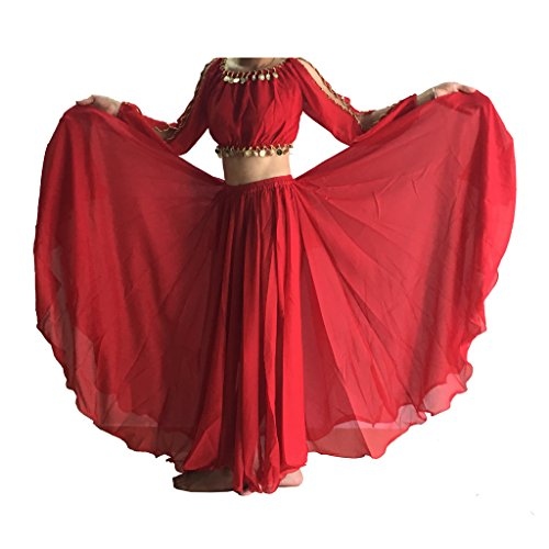 Wuchieal Women's Belly Dance Skirt Tribal Chiffon Full Skirt (Hot Red)