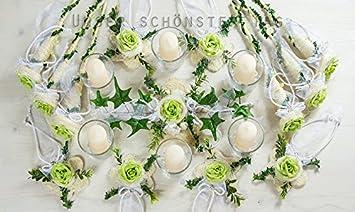 25 Tlg Tischdekoration Weiss Grun Zur Hochzeit Tischdeko Td0061 5
