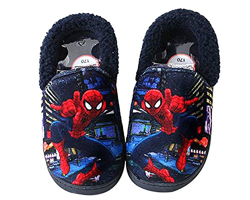 Spider-Man Boys Navy Red Warm Fur Slippers Clog Mule Indoor Shoes (Parallel Import/Generic Product) (13 M US Little Kid)
