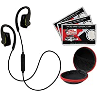 JVC HA-EC30BT Sports Inner Ear Wireless Bluetooth Headphones with Remote & Mic (Black) with Earbuds Case + (3) Cleaning Cloths Kit
