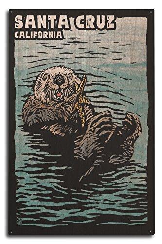 Birch Santa (Santa Cruz, California - Sea Otter (10x15 Wood Wall Sign, Wall Decor Ready to Hang))