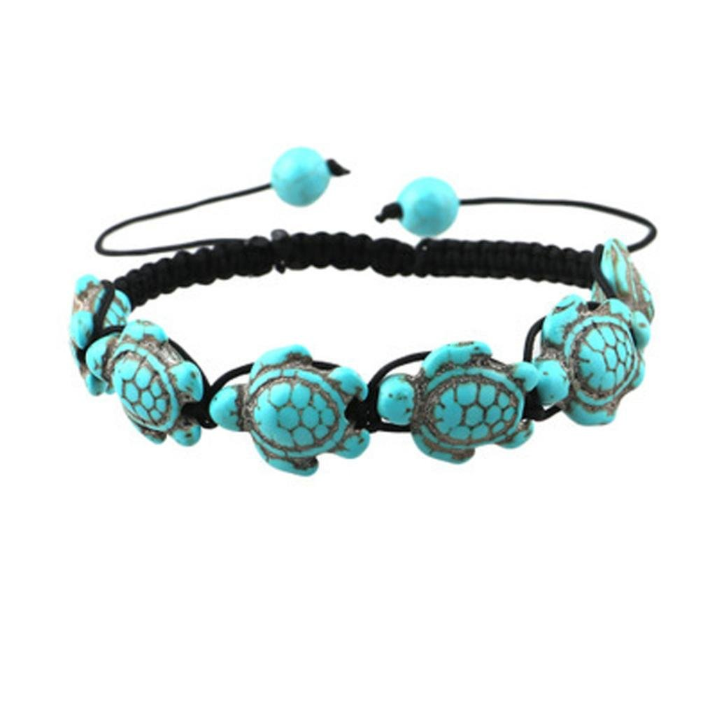 LLguz Fashion Women Charm Multilayer Bracelet Bohemian Style Jewelry Turtle Fish Bear Turquoise Pendant Bracelet Beaded Bangle