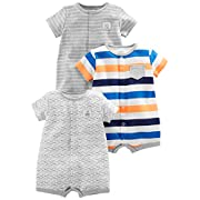 Simple Joys by Carter's Boys' 3-Pack Snap-up Rompers, Stripe, Whale, Tiger, Newborn