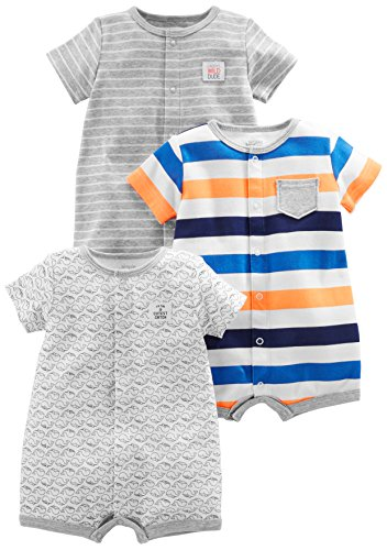 Simple Joys by Carter's Baby Boys' 3-Pack Snap-up Rompers, Stripe, Whale, Tiger, 0-3 - Front Baby Boys Snap
