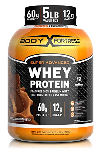 Body Fortress Super Advance Whey Protein Powder 5 lb, Chocolate Peanut Butter