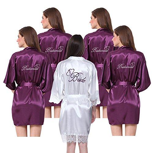 JOYTTON Women's Satin Kimono Robe with Embroidered Bride Bridesmaid Purple ()
