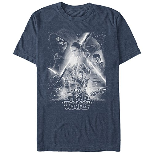 Star Wars The Force Awakens Men's Episode VII Poster Navy Blue Heather T-Shirt