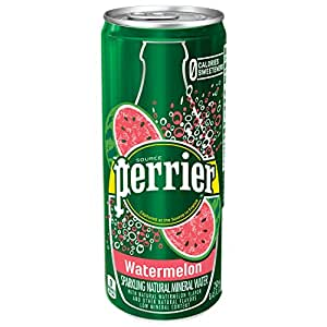 Perrier Sparkling Mineral Water, Watermelon, 8.45 fl oz. Slim Cans (Pack of 30)