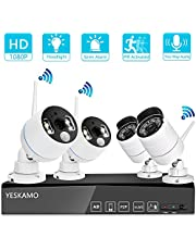 YESKAMO Wireless CCTV Camera Systems 1080P with PIR Floodlight Camera, Two Way Audio, Color Night Vision, Motion Activated Alert