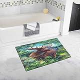InterestPrint Moose in the Woods 20'' X 32'' Soft Shaggy Bath Mat Non-slip Rubber Bathroom Rug Floor Mats