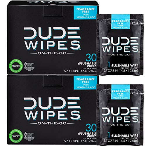 DUDE Wipes Flushable Wet Wipes (2 Packs, 30 Wipes Each) Individually Wrapped for Travel, Unscented Wet Wipes with Vitamin-E & Aloe, Septic and Sewer Safe (Best Way To Get A Bigger Penis)