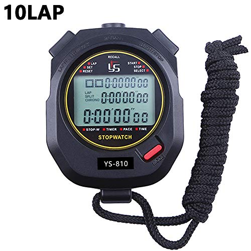 PULIVIA Stopwatch 10 Lap Split Memory Digital Stopwatch Countdown Timer 12/24 Hour Clock Alarm Calendar with Pace Mode 3 Rows Display Large Screen Water Resistant Battery Included for Sport - Stopwatch Timer Time Countdown