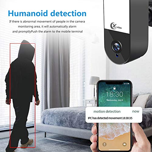 Security Camera Outdoor Wireless WiFi,Built in Led Floodlght, Smart Light ,XVIM Wireless Security Camera with AI Human Detection, Floodlight, Audio, Siren Alarm, NO TF Card, No Battery