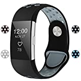 For Fitbit Charge 2 Bands, Soft Silicone Adjustable Replacement Sport Strap Bands for Fitbit Charge 2 Smartwatch Fitness Wristband Black Gray Large