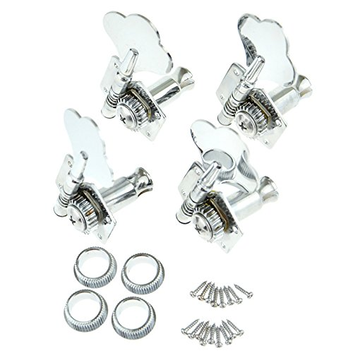 4 Right Hand Bass Guitar Tuning Pegs Bass Vintage Opened Machine Heads Chrome from Guitar Tuning Peg