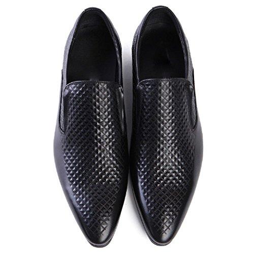 Moda Fondo Sposa Uomo Morbido degli Scarpe Punta Basse Comfort Scarpe da da Black Pelle Assorbimento Atmosfera Scarpe Urti in 8WgwY
