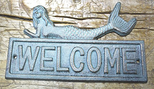 Rustic D?cor Cast Iron Mermaid Welcome Plaque Sign Nautical Wall Pool Decor Boat - Sign Cor