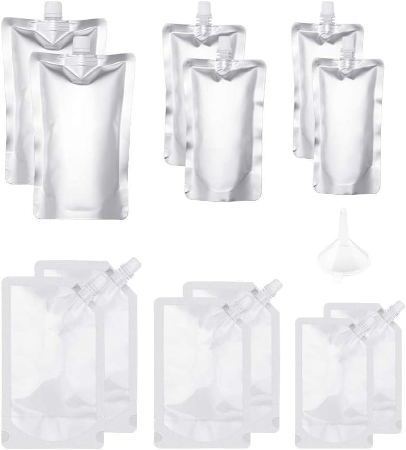 Botella de plástico para bebidas con bolsa de licor, reutilizable, de aluminio, con embudo de plástico, 250 ml, 350 ml, 500 ml para zumo de fruta, licor, ron, agua, 12 unidades