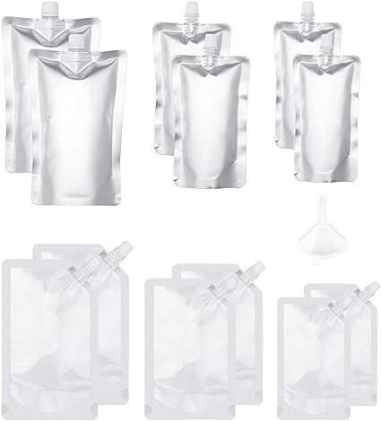Botella de plástico para bebidas con bolsa de licor, reutilizable, de aluminio, con embudo de plástico, 250 ml, 350 ml, 500 ml para zumo de fruta, ...