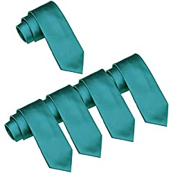 Mens Wedding Tie Wholesale Solid Color Skinny Ties 5 Pack (2 inch) (Teal)