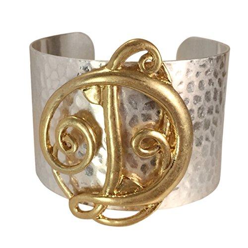 Boutique Look Monogram Initial Cuff Bracelet (Letter D) (Monogram Initial Bracelet)