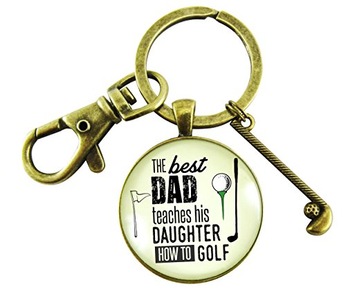 The Best Dad Teaches His Daughter How to Golf Key Chain Father From Daughter Key Ring Golfer Club - Keychain Golfer