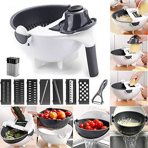 Yunhigh New 9 in 1 Magic Rotate The Vegetable Cutter with Drain...